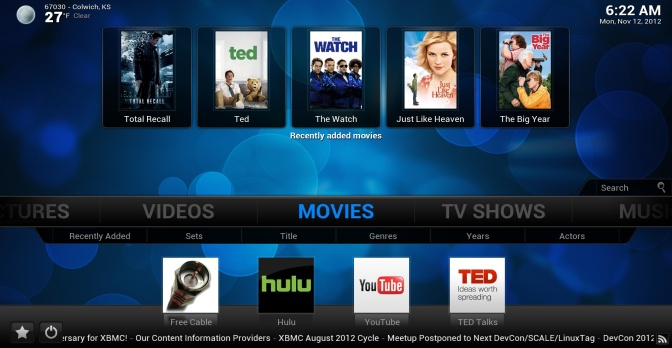Confluence (Standard Skin)  THis is what XBMC will look like on your TV